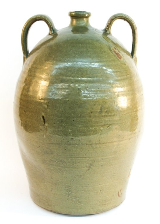 Southern stoneware double-handled jug, Edgefield