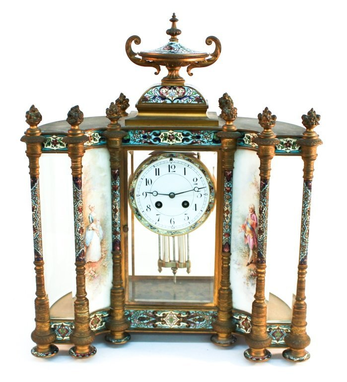 French gilt-bronze & champleve enamel mantle clock
