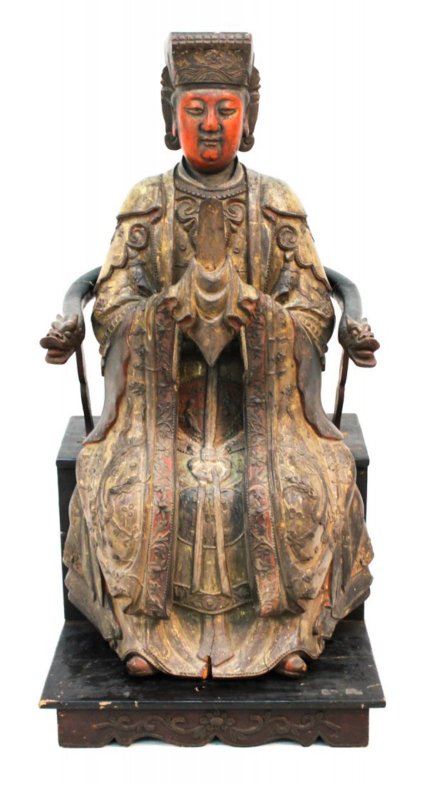 Fine Chinese giltwood carving of Emperor
