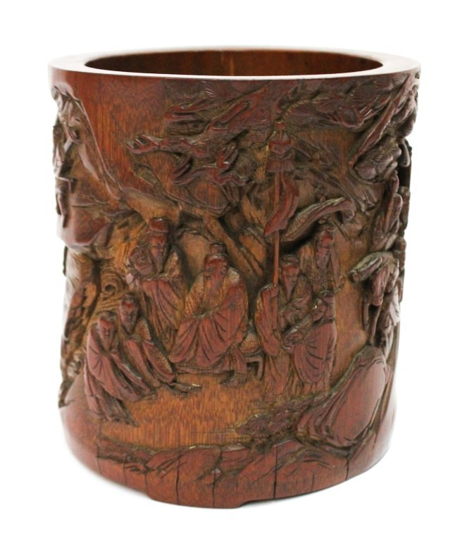 Fine Chinese reticulated bamboo brush pot, Qing