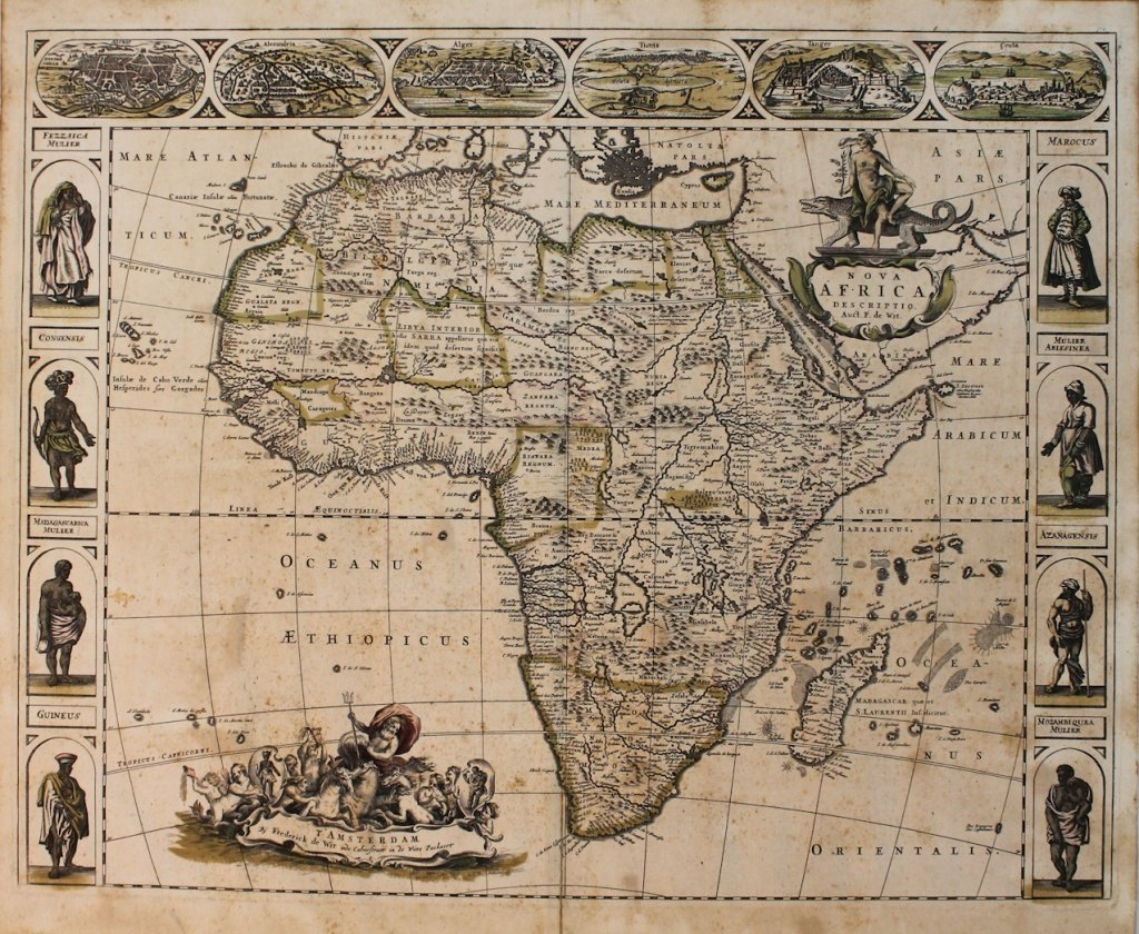 Early map of Africa, Frederick de Wit