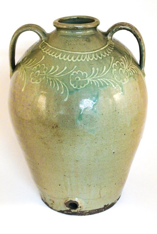 Important slip decorated stoneware water cooler