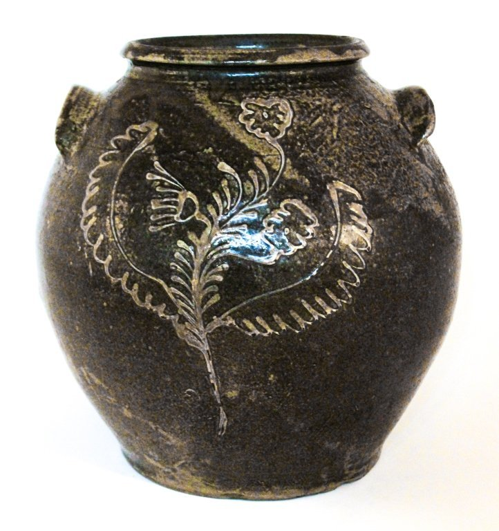 Very fine kaolin slip decorated stoneware jar