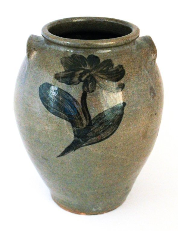 Very rare iron slip decorated stoneware jar