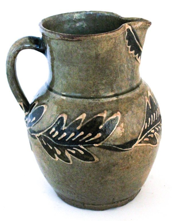 Very fine decorated stoneware pitcher