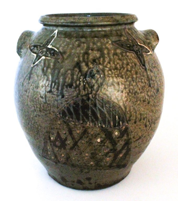 "Very important ""hoop skirted"" woman stoneware jar"
