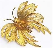 Art Deco gold, diamond, & ruby butterfly brooch