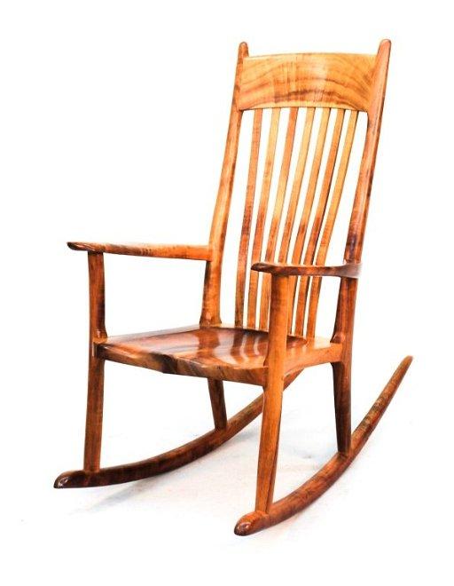 Marvelous Koa Wood Rocking Chair Stan Gollaher Machost Co Dining Chair Design Ideas Machostcouk