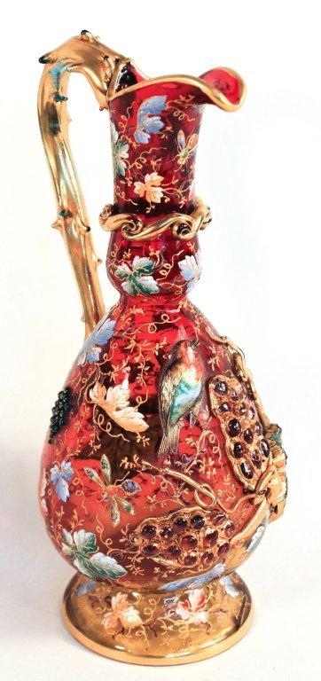Very Fine Moser Enameled Glass Ewer