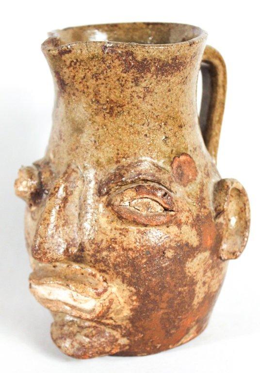 Very Fine & Rare Edgefield Stoneware Face Pitcher