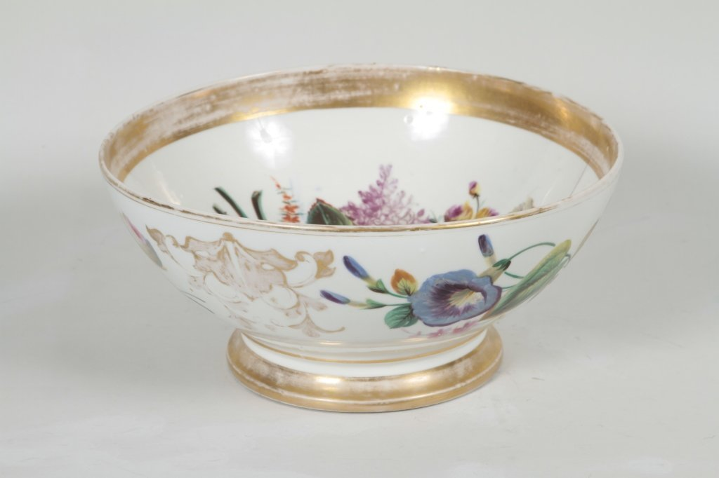 American Gilt, Hand-Painted Porcelain Punch Bowl