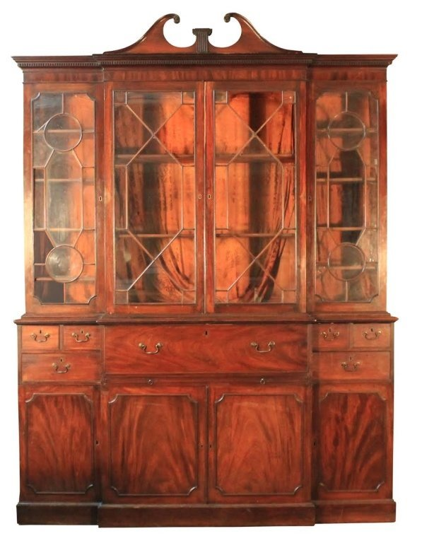 George III Carved Mahogany Breakfront Bookcase