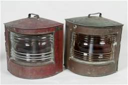 Antique Copper Port & Starboard Ship Lanterns