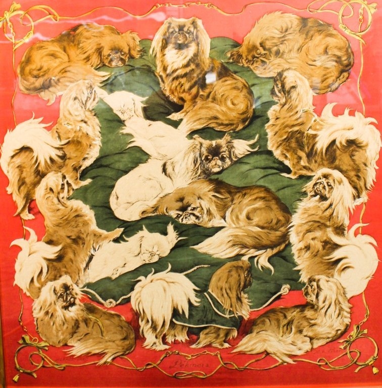 "Hermes-Paris ""Pekinois"" Silk Scarf"