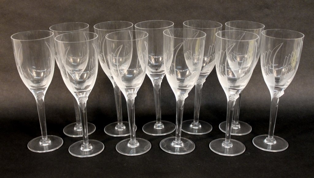Lalique Angel Pattern Cut Crystal Wine Glasses