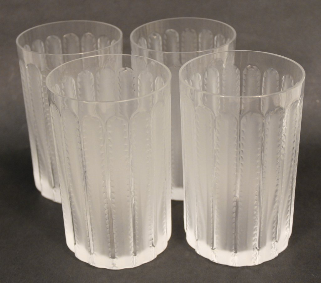 Four Lalique Cut Crystal Frosted Tumblers, Jaffa P