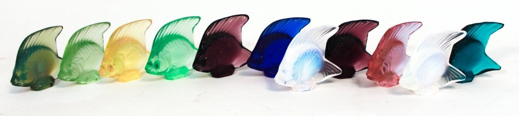Collection of Eleven Lalique Crystal Colored Fish