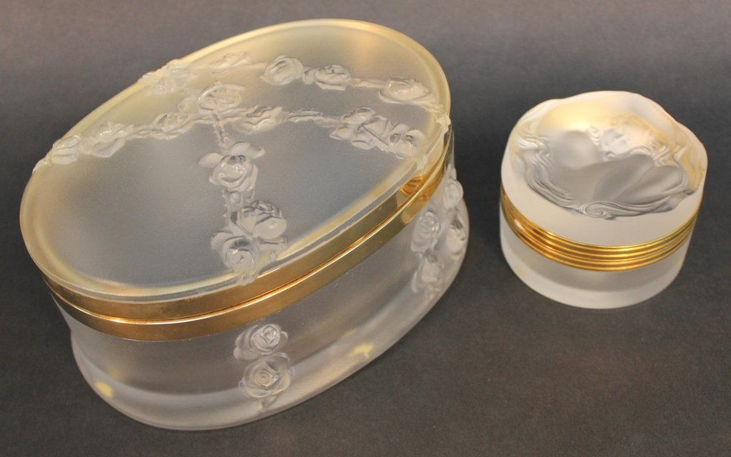 Two Lalique Frosted Crystal Dresser Boxes