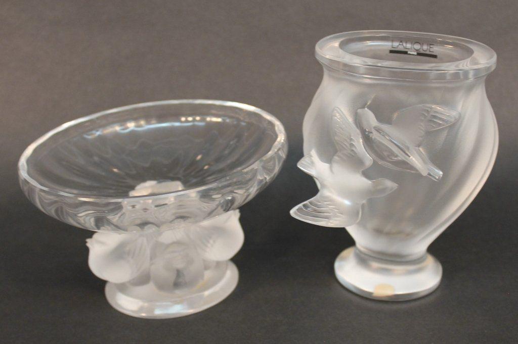 """Lalique """"Nogent"""" Crystal Compote & """"Rosine"""" Vase"""