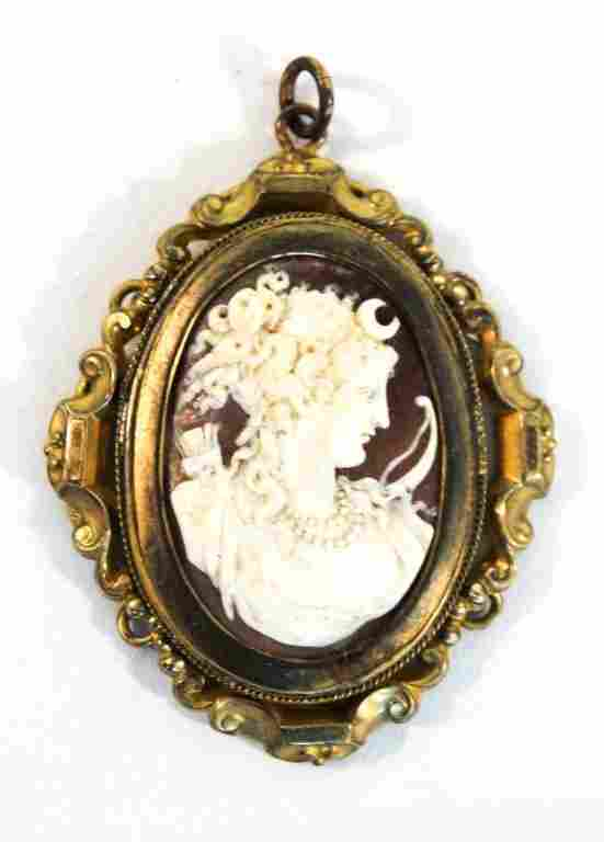 Victorian Carved Shell Cameo Brooch