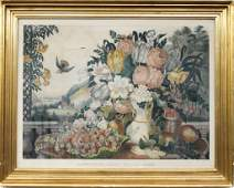 Currier and Ives Landscape, Fruit and Flowers