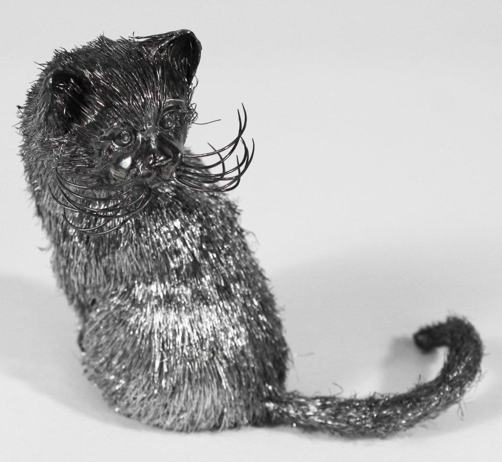 Mario Buccellati Silver Cat Sculpture