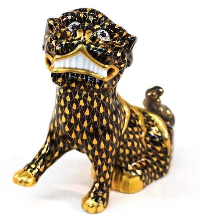 Herend Painted Porcelain Figural Foo Dog