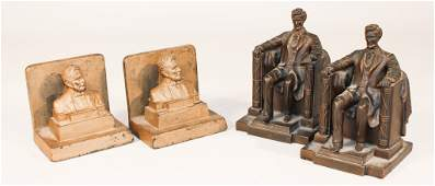 Pair Jennings Brothers Bronze Lincoln Bookends