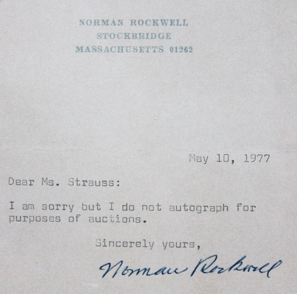 Interesting Norman Rockwell Autograph