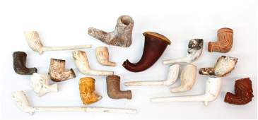 Collection Eighteen Antique Clay Pipes