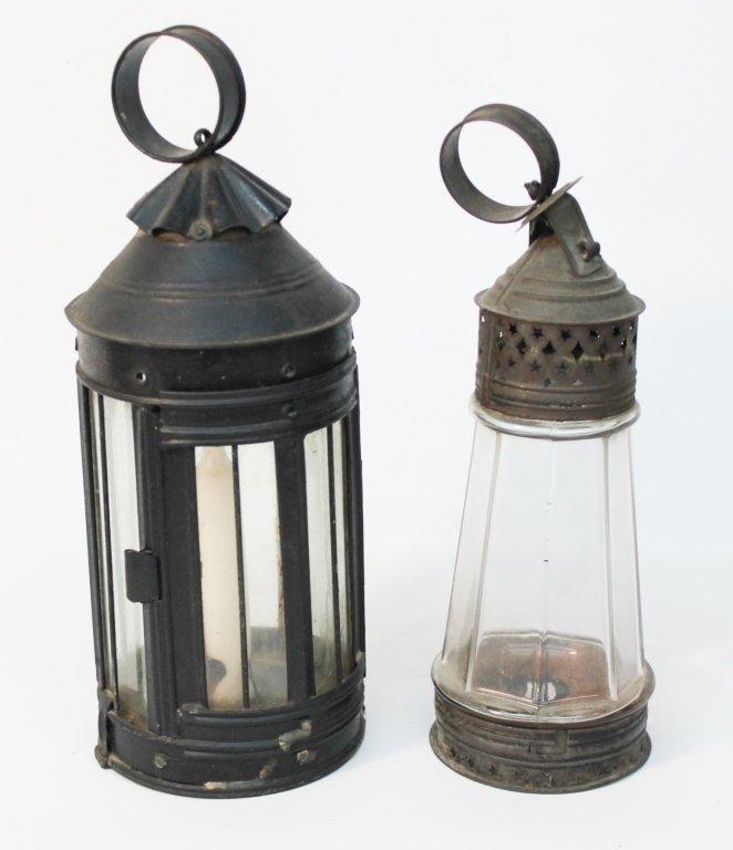 Two Antique American Tin Lanterns