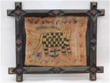 Antique American Folk Art Needlework Picture