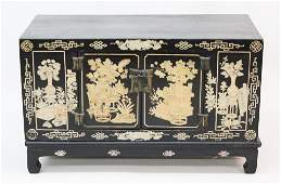 Antique Chinese Black Lacquer Low Cabinet