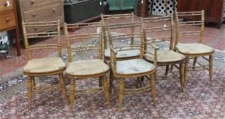 Set Six Painted Sheraton Fancy Chairs