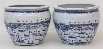 Pair Chinese Blue & White Porcelain Planters