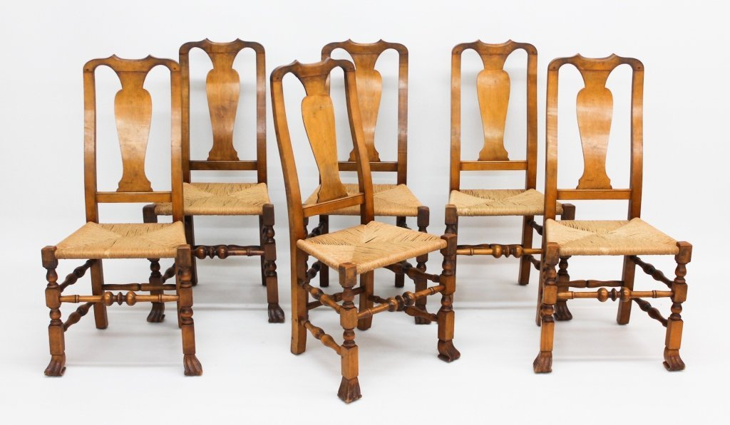 Fine William & Mary Style Chairs, Wallace Nutting