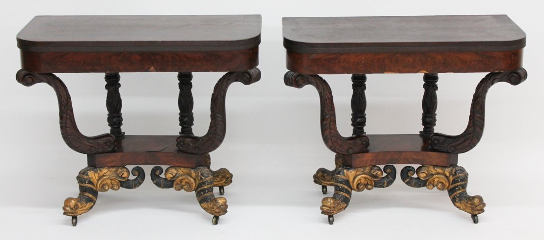Pair Classical Carved Mahogany Card Tables