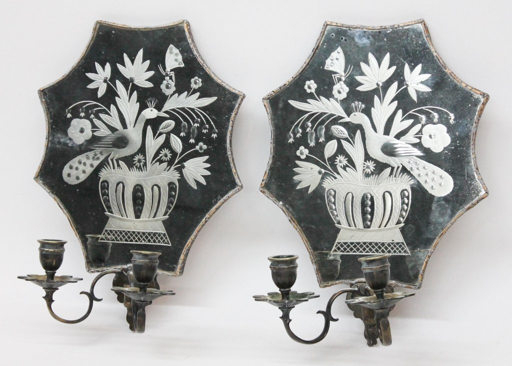 Excellent Pair George III Cut Glass Wall Sconces