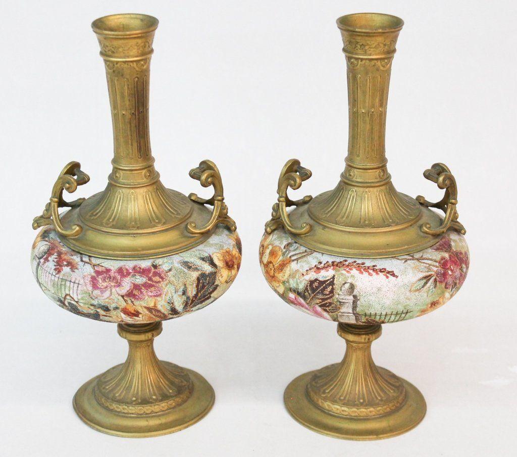 Fine Pair French Bronze & Porcelain Urns