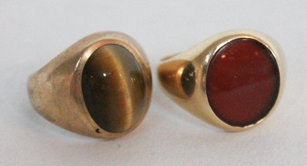 Two Art Deco Gentleman's Gold Rings