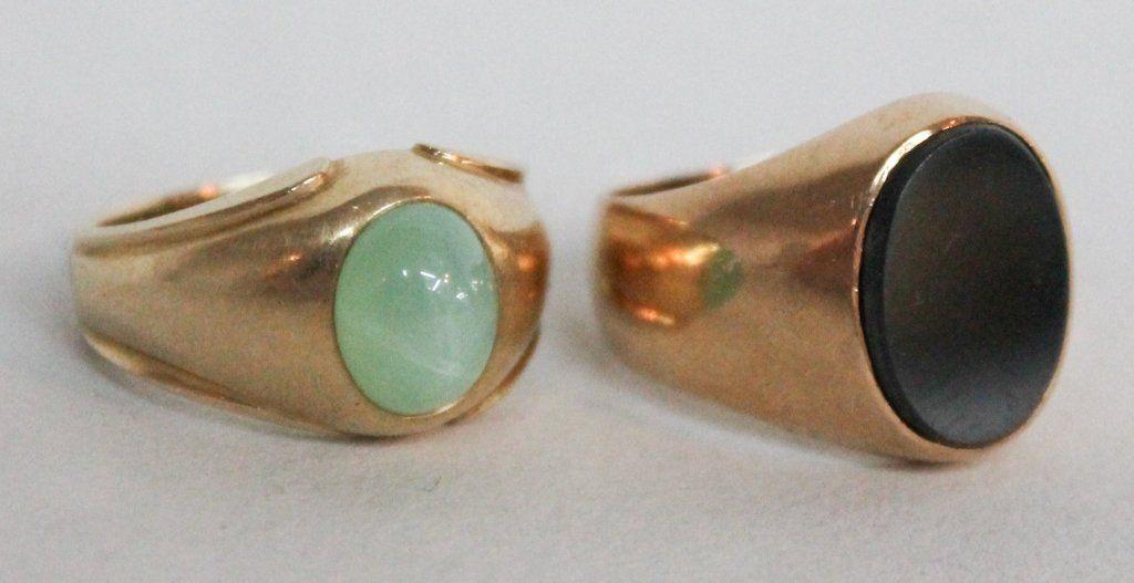 Two Art Deco Gentlemen's Gold Rings