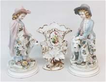 Three Pieces Antique Continental Porcelain