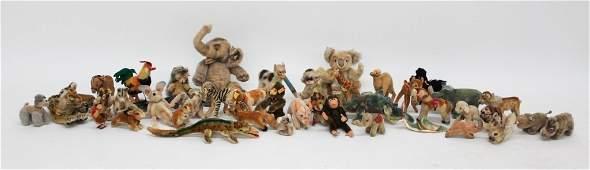 Collection of Vintage Steiff Hard Stuffed Animals