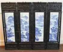 Set Four Chinese Carved Hardwood Panels