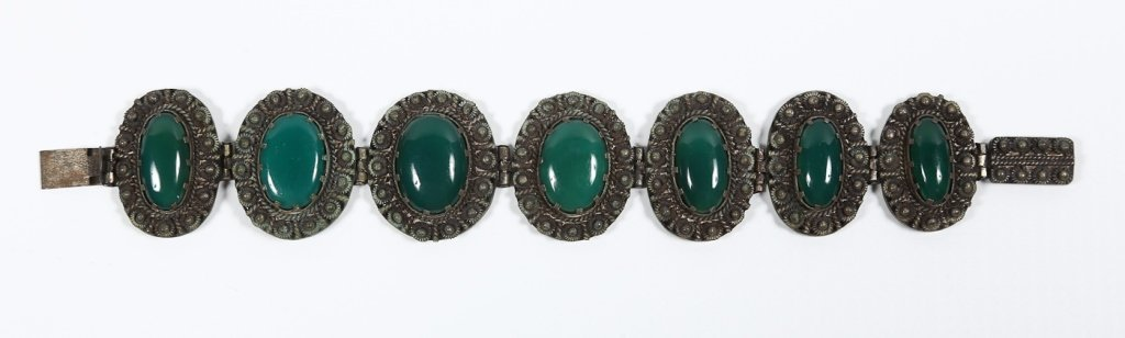 Very Fine Antique Chinese Jade & Silver Bracelet