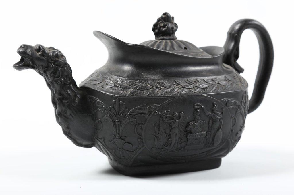 Very Fine Georgian Black Basalt Tea Pot - 2