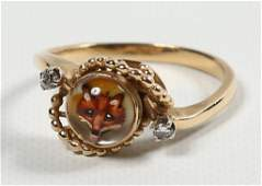 Ladies Gold Diamond  Intaglio Crystal Ring