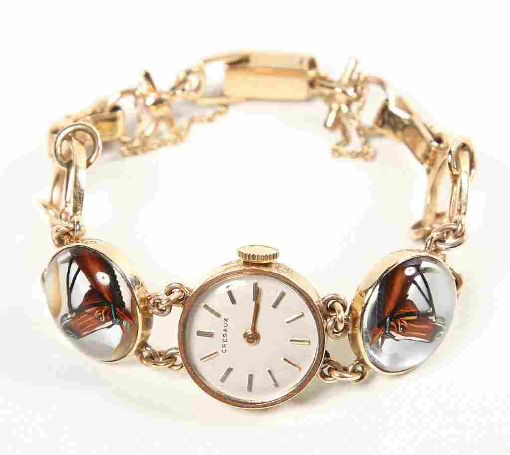 Reverse Intaglio Crystal Cresaux Ladies Watch