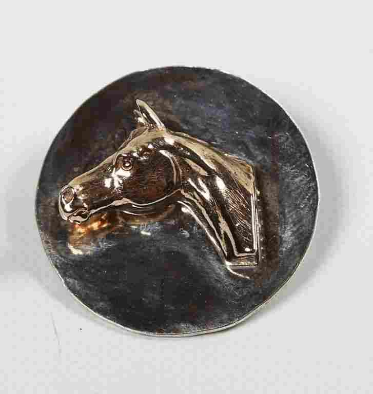 Custom Vintage Gold & Silver Horse Head Pin