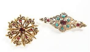Two Vintage Art Nouveau Gold  Ruby Pins or Brooch